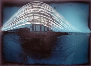 Kemptown Gas Holder Tower Pinhole solargraph photo 5 months continuous exposure, 19 Jul - 22 Dec 2014